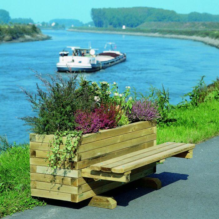 Mobilier urbain jardinière banc